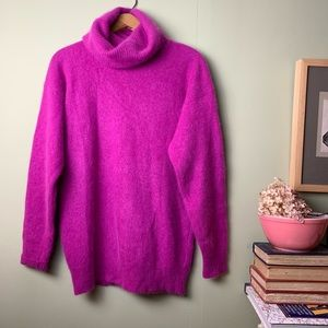 Vintage Tally Ho Hot Pink Angora & Wool Sweater